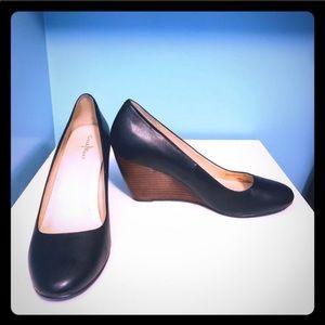 Cole Haan black wedge heels size 9